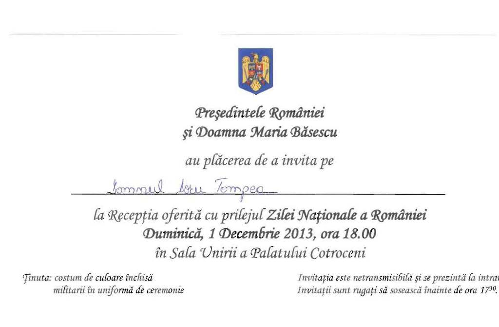 invitatie presedinte