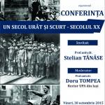 """Prof.univ.dr. Stelian Tănase susține o conferință la UPA cu titlul  """"Un secol urât și scurt – secolul XX"""""""