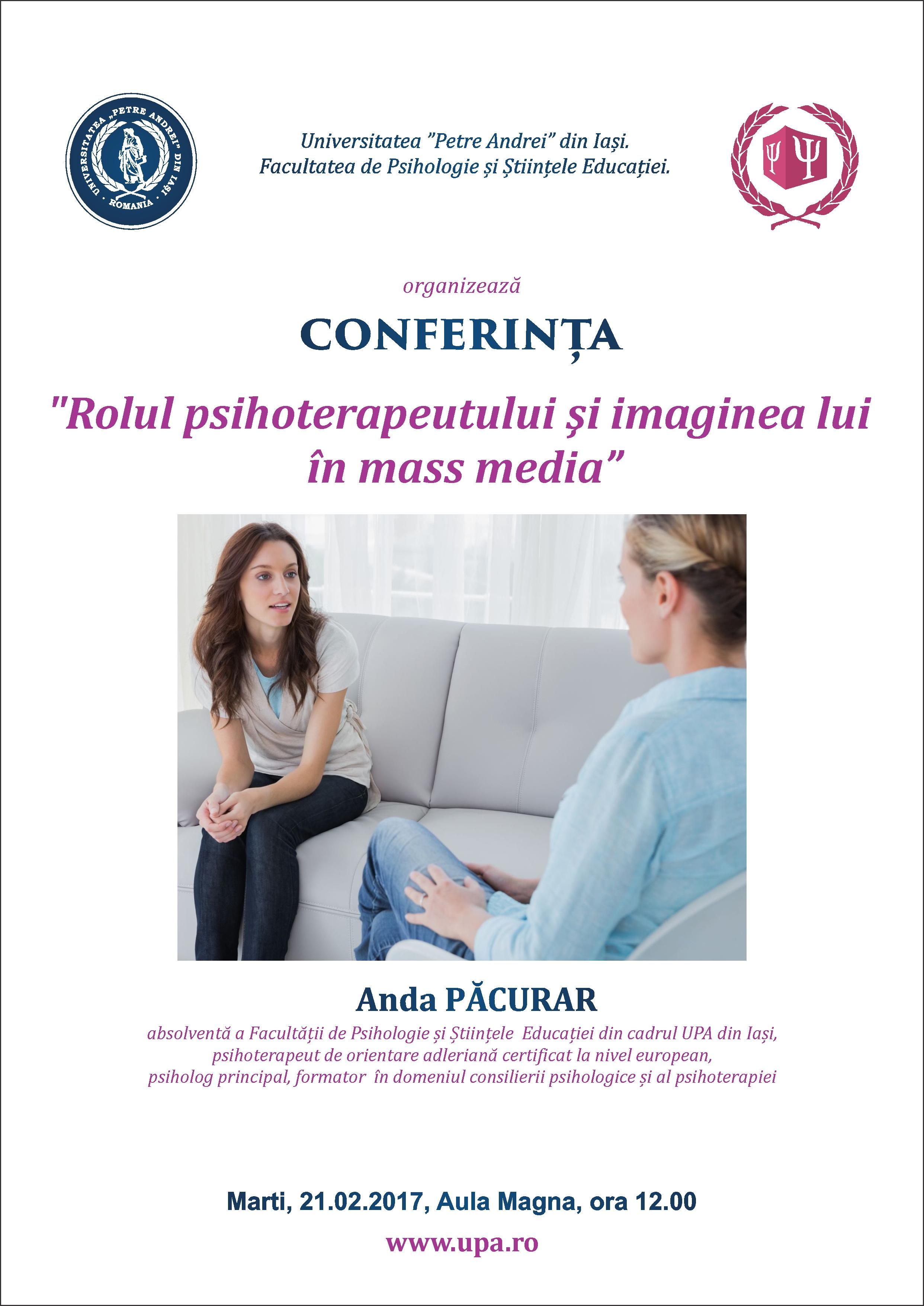 """Conferință: """"Rolul psihoterapeutului şi imaginea lui în mass media"""""""