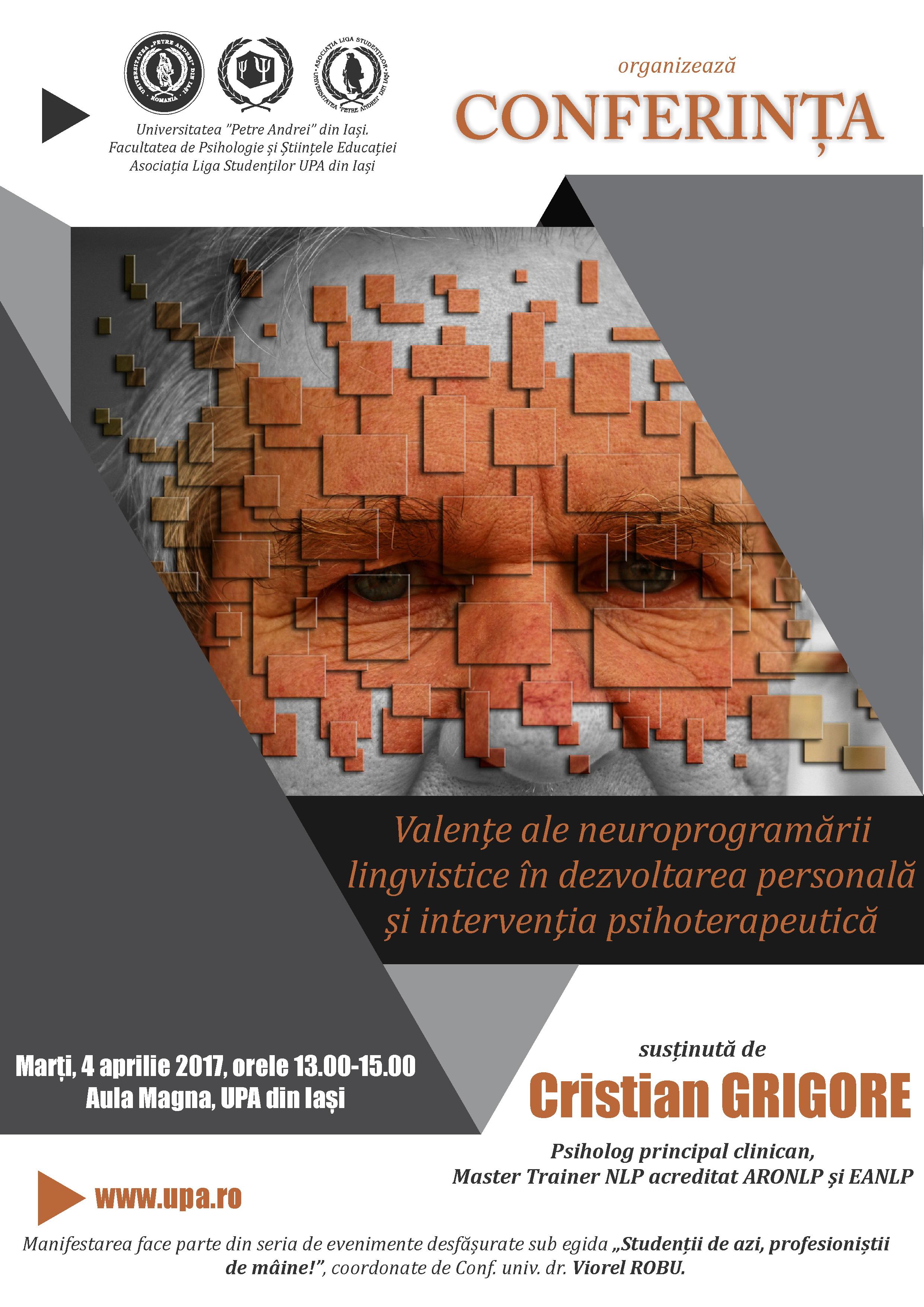 Conferință pe tema neuroprogramării lingvistice în dezvoltarea personală și intervenția psihoterapeutică, la UPA